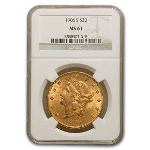 1906-S $20 Liberty Gold Double Eagle MS-61 NGC