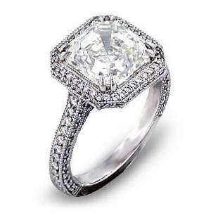 Natural 2.47 CTW Micro Pave Halo Asscher Cut Diamond