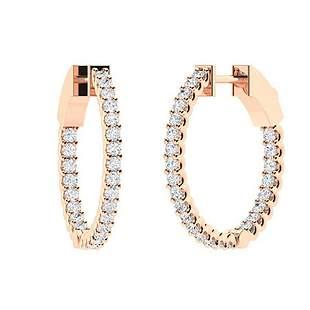 0.41 CTW Diamond Hoops Earrings 14K Rose Gold