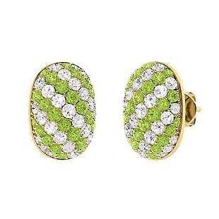 2.73 CTW Peridot & Diamond Halo Earrings 14K Yellow