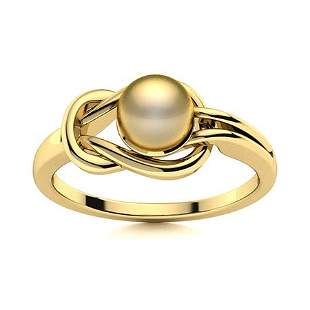 Natural 1.52 CTW Pearl Solitaire Ring 14K Yellow Gold