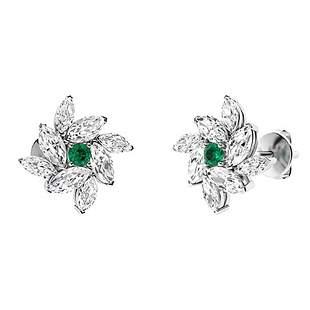 1.28 CTW Emerald Halo Earrings 18K White Gold