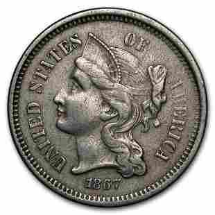 1867 3 Cent Nickel XF