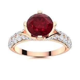 Natural 2.84 CTW Ruby & Diamond Engagement Ring 18K