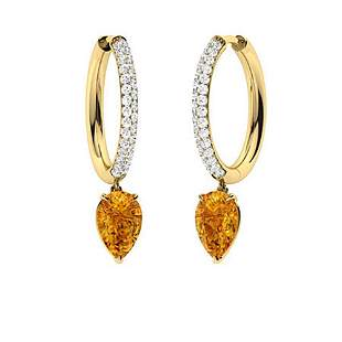 1.88 CTW Citrine Drops Earrings 18K Yellow Gold
