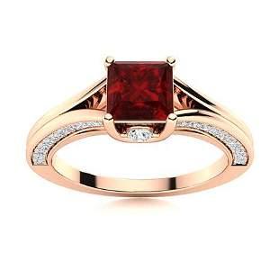 Natural 1.45 CTW Garnet & Diamond Engagement Ring 14K