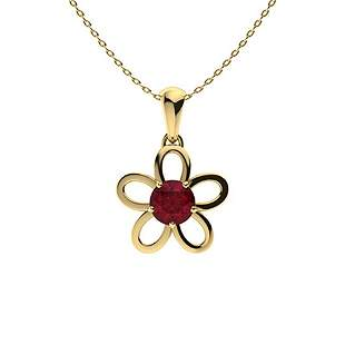 0.82 ctw Ruby Necklace 14K Yellow Gold