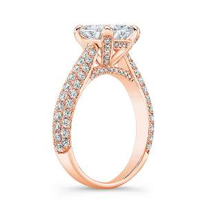 Natural 3.32 CTW Princess Cut Micro Pave Diamond