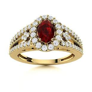 Natural 0.94 CTW Garnet & Diamond Engagement Ring 14K
