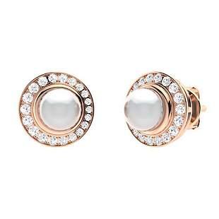 1.95 CTW Diamond & White Pearl Halo Earrings 18K Rose