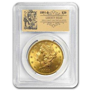 1891-S $20 Liberty Gold Double Eagle BU PCGS