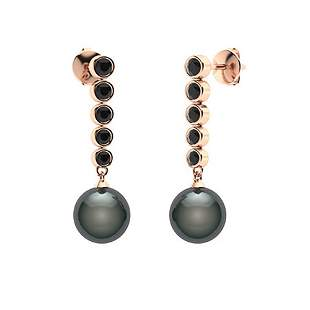 1.77 CTW Black Diamond & Black Pearl Drops Earrings 18K
