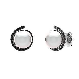 3.29 CTW Black Diamond & White Pearl Halo Earrings 14K