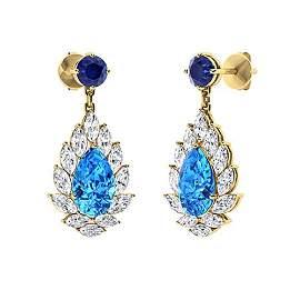 4.44 CTW Blue Topaz Chandelier Earrings 18K Yellow Gold