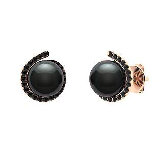 3.29 CTW Black Diamond & Black Pearl Halo Earrings 18K