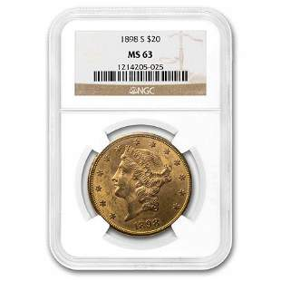 1898-S $20 Liberty Gold Double Eagle MS-63 NGC