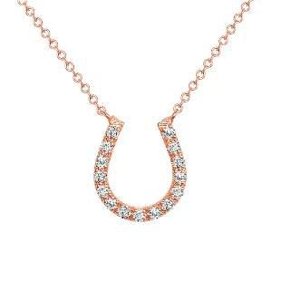 Natural 0.22 CTW Horse Shoe Diamond Pendant Necklace