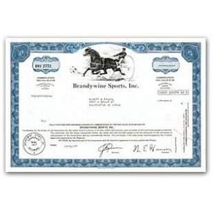 Brandywine Sports, Inc Stock Certificate (Harness