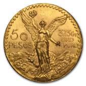 1929 Mexico Gold 50 Pesos BU