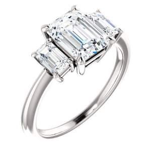 Natural 3.32 CTW Emerald Cut 3-Stone Diamond Engagement