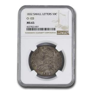 1832 Bust Half Dollar MS-65 NGC (O-103, Sm Letters)
