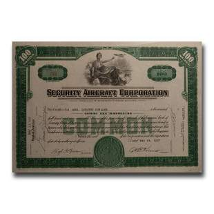 Security Aircraft Corporation Stock Certificate (1937)