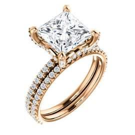 Natural 4.02 CTW Under-Halo Princess Cut Diamond Ring