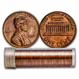1971 Lincoln Cent 50-Coin Roll BU