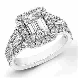Natural 2.62 CTW Halo Emerald Cut Diamond Ring 14KT