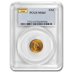 $1 Indian Head Gold Dollar Type 2 MS-63 NGC/PCGS
