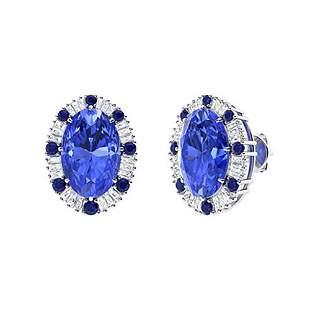 11.83 CTW Ceylon Sapphire Halo Earrings 18K White Gold