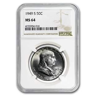 1949-S Franklin Half Dollar MS-64 NGC