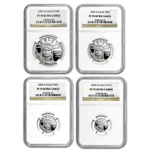 2000-W 4-Coin Proof American Platinum Eagle Set PF-70