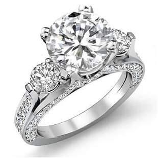 Natural 3.32 CTW Round Cut 3-Stone Diamond Engagement