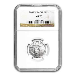 2008-W 1/4 oz Burnished American Platinum Eagle MS-70