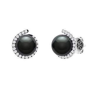 3.29 CTW Diamond & Black Pearl Halo Earrings 14K White