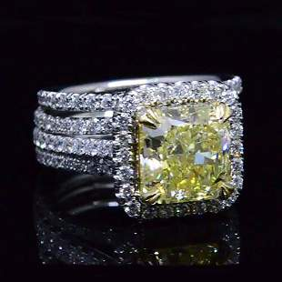 Natural 4.88 CTW Canary Yellow Radiant Cut Diamond Ring