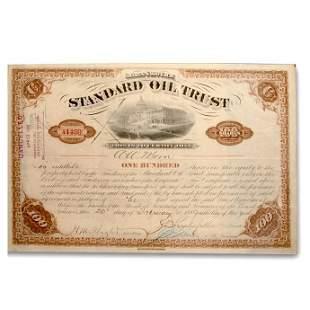 Standard Oil Trust Stock Cert. (Signed by Rockefeller &