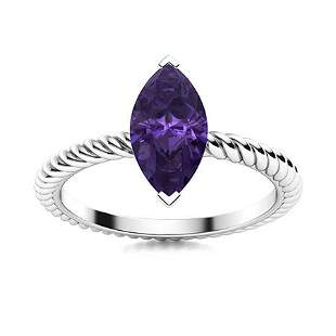 Natural 0.80 CTW Amethyst Solitaire Ring 14K White Gold