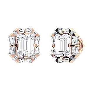 7.58 CTW White Topaz & Diamond Halo Earrings 18K Rose