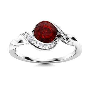 Natural 0.75 CTW Garnet & Diamond Engagement Ring 18K