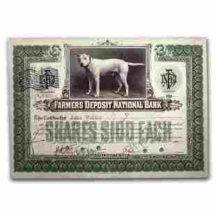 Farmers Deposit National Bank Stock Certificate