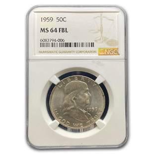 1959 Franklin Half Dollar MS-64 NGC (FBL)