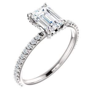 Natural 1.52 CTW Diamond Basket Emerald Cut Diamond