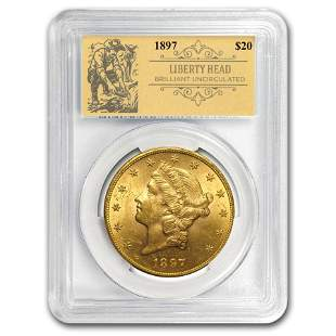 1897 $20 Liberty Gold Double Eagle BU PCGS (Prospector