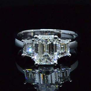Natural 2.72 CTW 3-Stone Diamond Engagement Ring 18KT