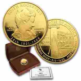 2013-W 1/2 oz Proof Gold Edith Roosevelt (w/Box & COA)