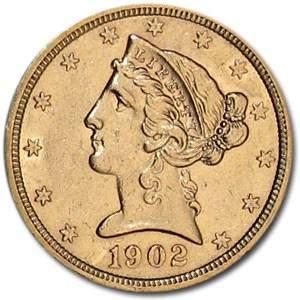 1902-S $5 Liberty Gold Half Eagle AU