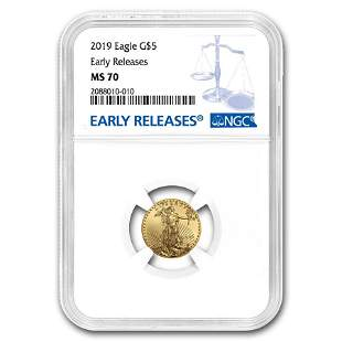 2019 1/10 oz American Gold Eagle MS-70 NGC (Early