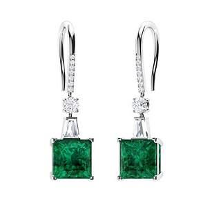 2.126 CTW Emerald Drops Earrings 14K White Gold